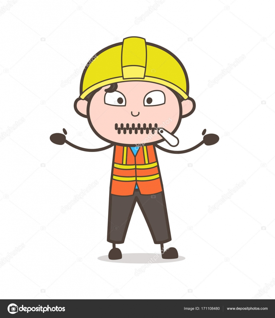 Zipper Mouth Face - Cute Cartoon Male Engineer ...