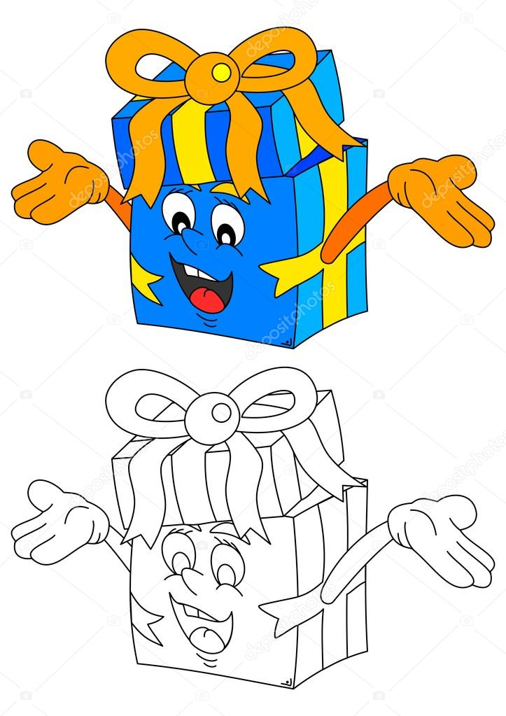 Vector de regalo - un libro para colorear para niños - sonriente ...