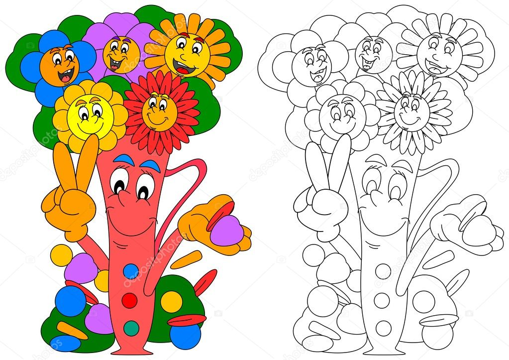 Sonrientes coloridas flores en un florero sonriendo — Vector de ...