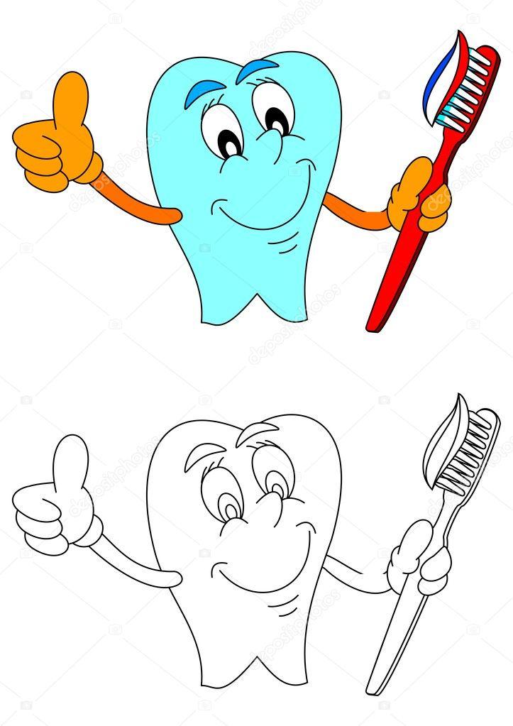 Sağlıklı Diş Diş Macunu Ve Diş Fırçası Ile Gülümseyen Stok Vektör
