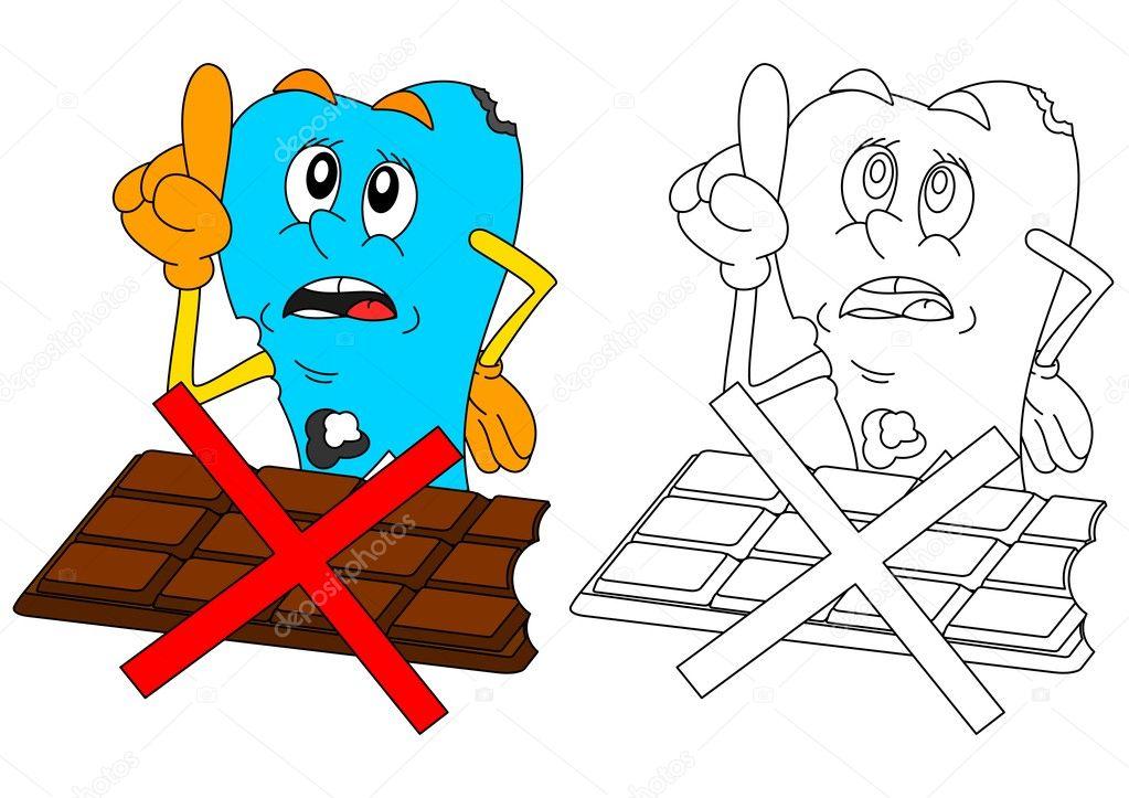 çikolata Ile üzücü Hasta Diş Stok Vektör Petr73 127395276