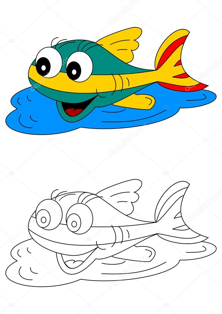 Color Coloring Book For Young Children Colorful Fish Stock