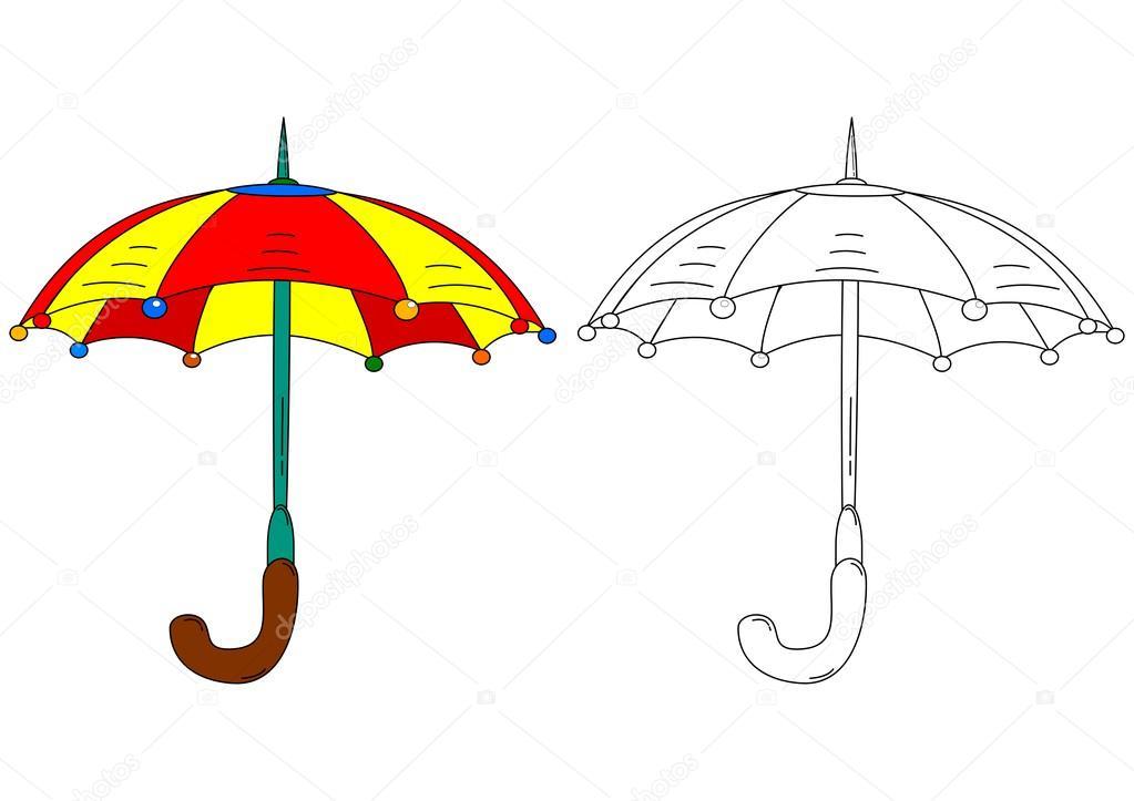 Paraguas colores como libros para colorear — Archivo Imágenes ...