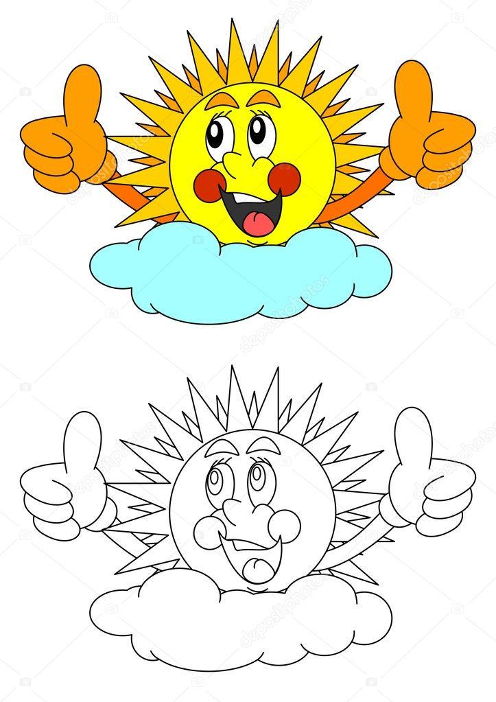 Imágenes: sol y nubes para colorear | Sol sonriente detrás de una ...