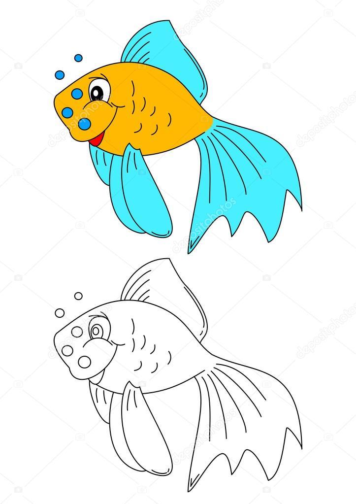 Libro para colorear para niños - peces de colores de color — Archivo ...