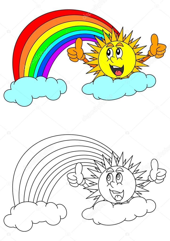 Gülümseyen Güneş Ve Gök Kuşağı Stok Vektör Petr73 128605888