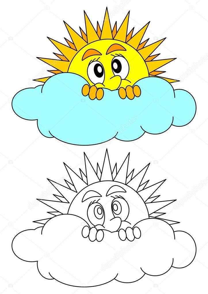 El sol asoma tímidamente detrás de una nube — Vector de stock ...