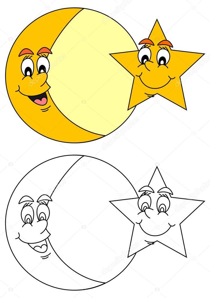 Ay Yıldız Ile Gülümseyen Stok Vektör Petr73 129358824
