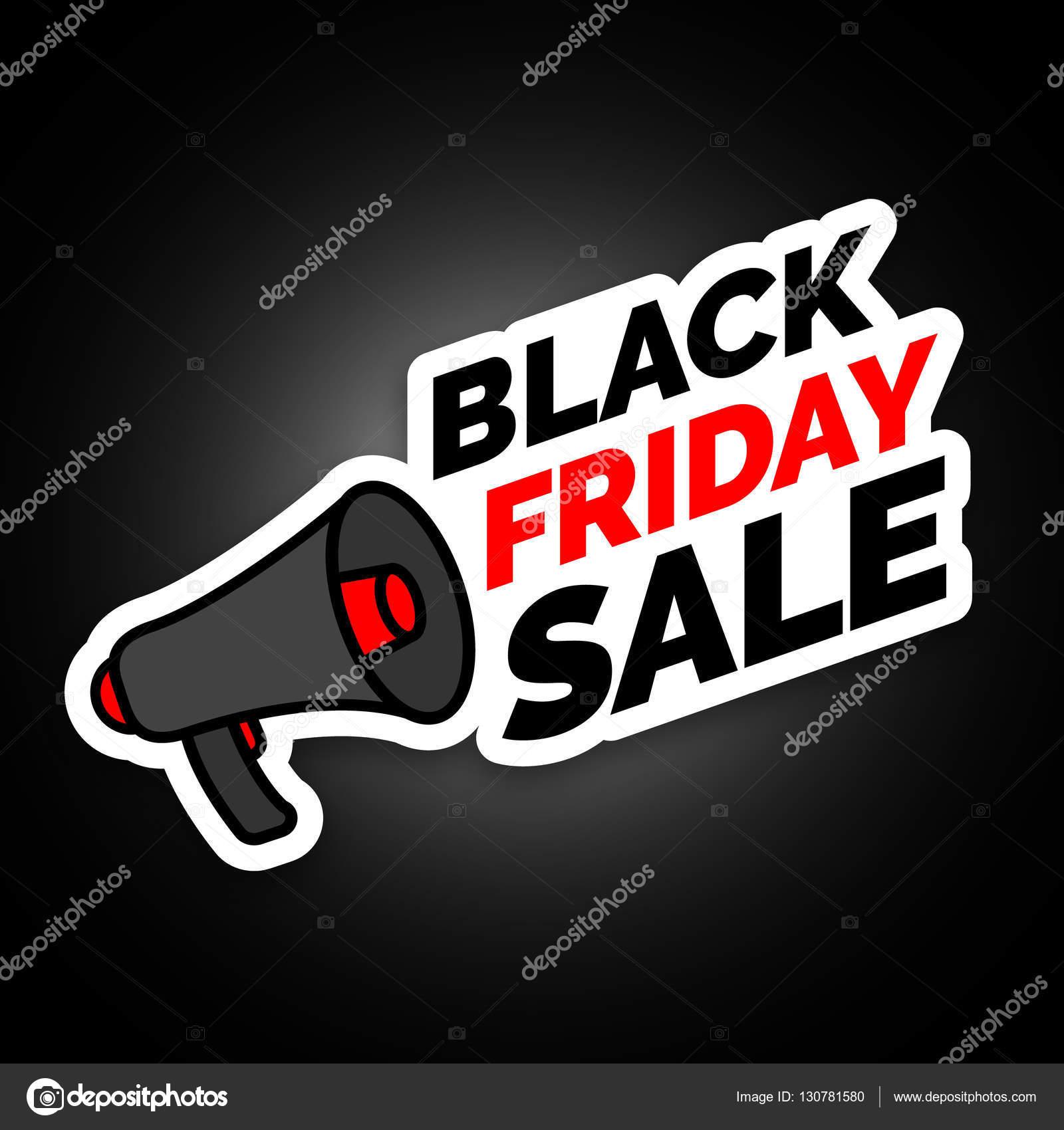 09a0dbd2a Adesivo de venda sexta-feira preto com cores de megafone