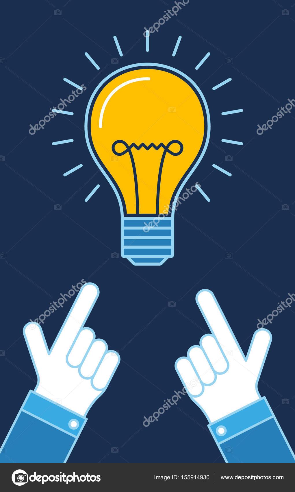 点灯している電球の新しいアイデア ビジネス イラスト指差し手