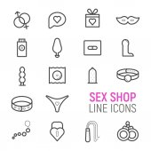 Photo Sex shop icons set. Vector flat line illustrations.