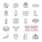 Fotografie Sex shop icons set. Vector flat line illustrations.