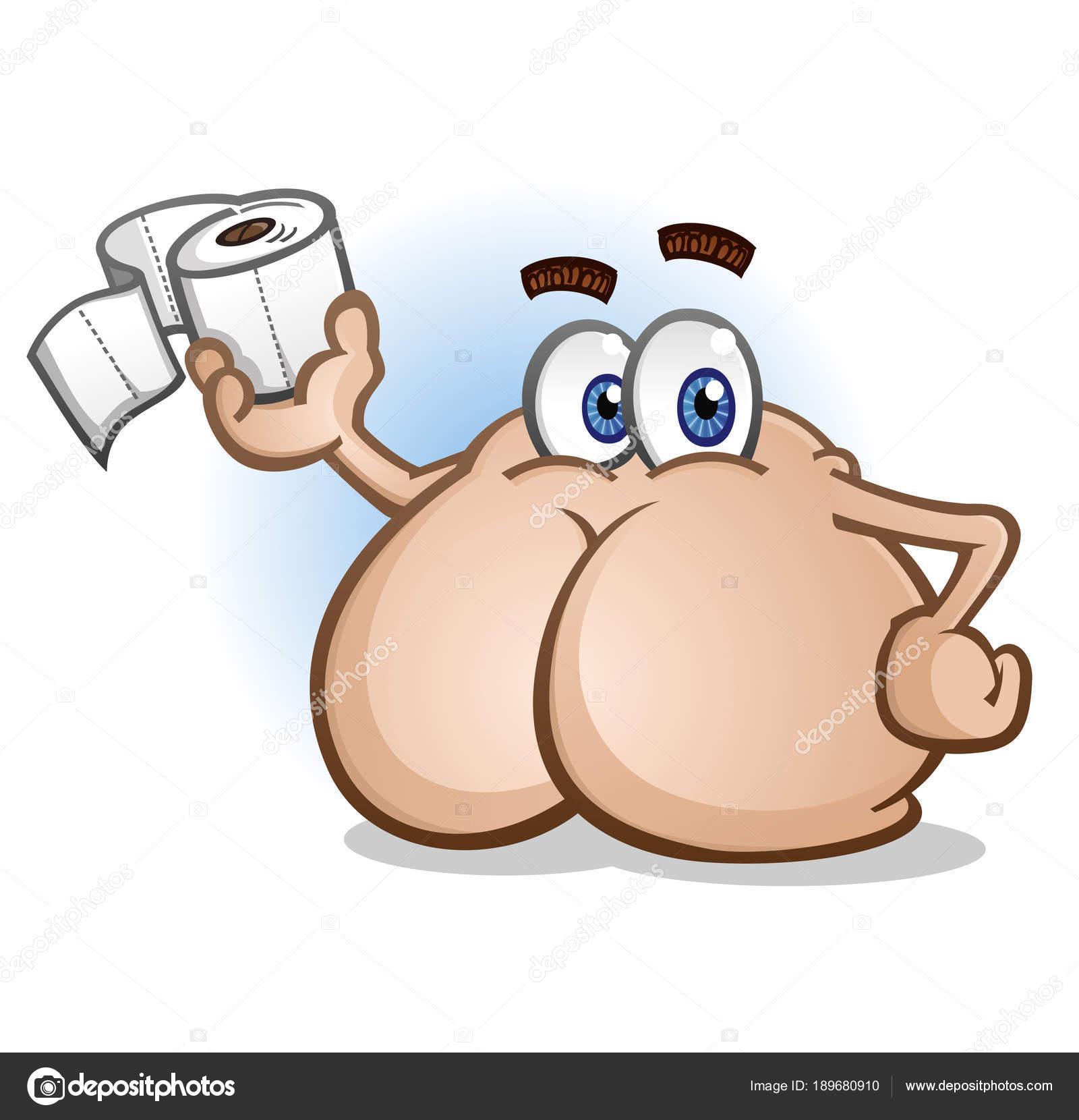 Butt Cartoon Character Holding Toilet Paper — Stock Vector ...