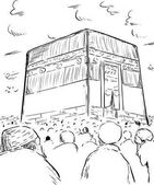 Photo Outline of people around the Kaaba in Mecca