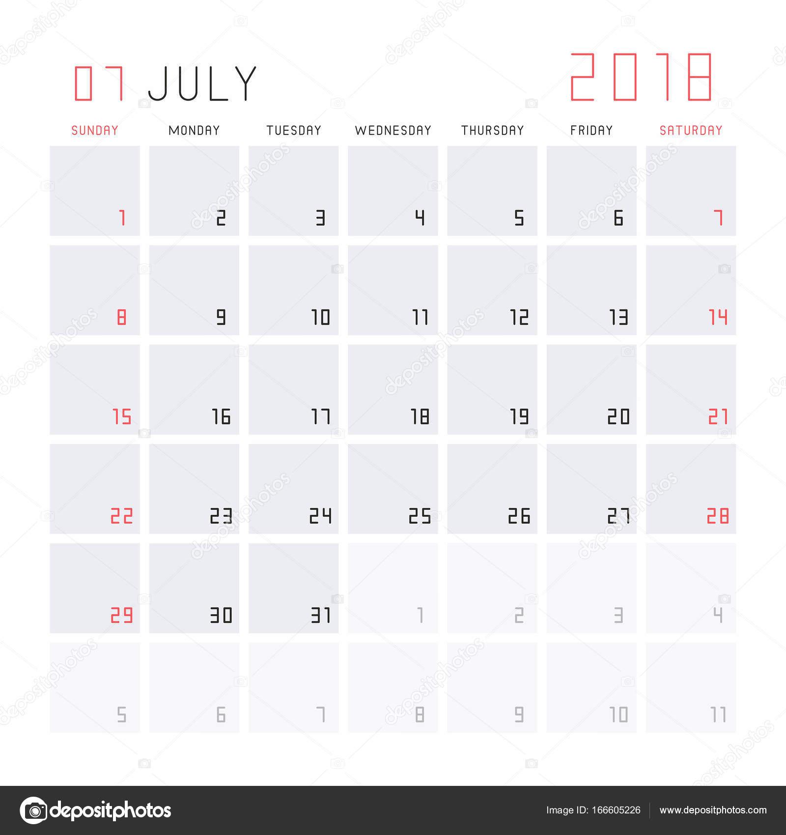 kalendar cervenec Kalendář červenec 2018 — Stock Vektor © NataliiaVolyk #166605226 kalendar cervenec