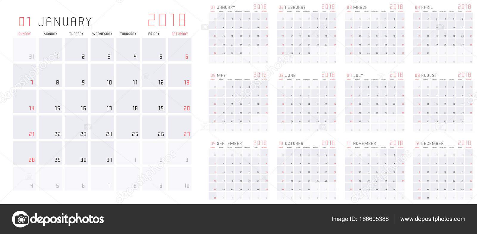 Englischen Kalender 2018 — Stockvektor © NataliiaVolyk #166605388