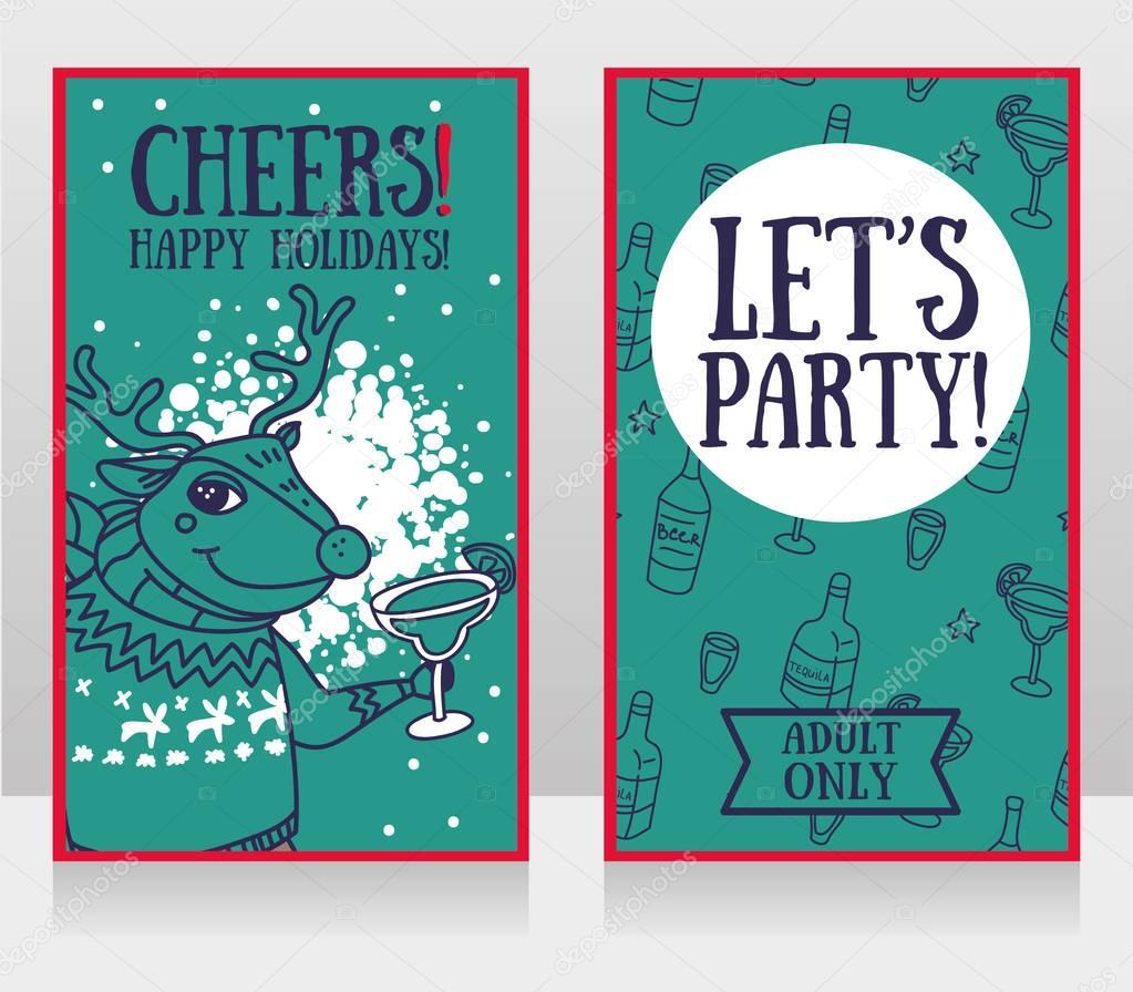 plantillas para invitaciones de fiesta, ciervos de la Navidad el ...