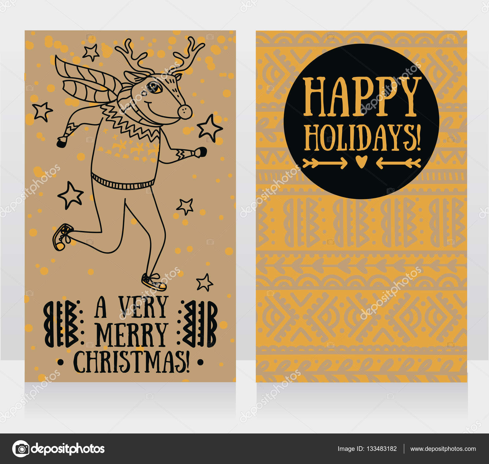Weihnachtsfeier Lustig.Zwei Niedliche Karten Für Weihnachtsfeier Mit Doodle Lustig Hirsch