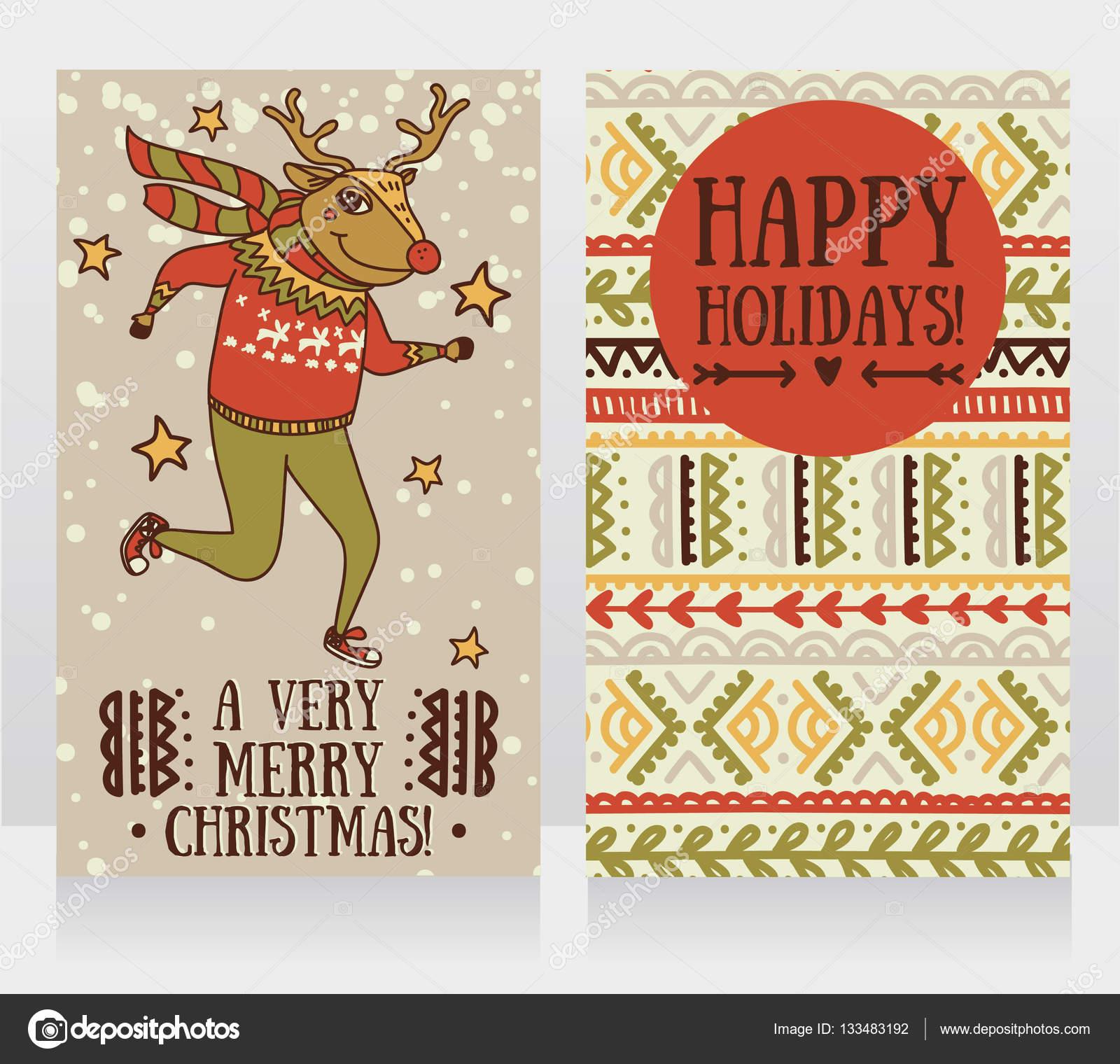Doodle Weihnachtsfeier.Zwei Niedliche Karten Für Weihnachtsfeier Mit Doodle Lustig Hirsch