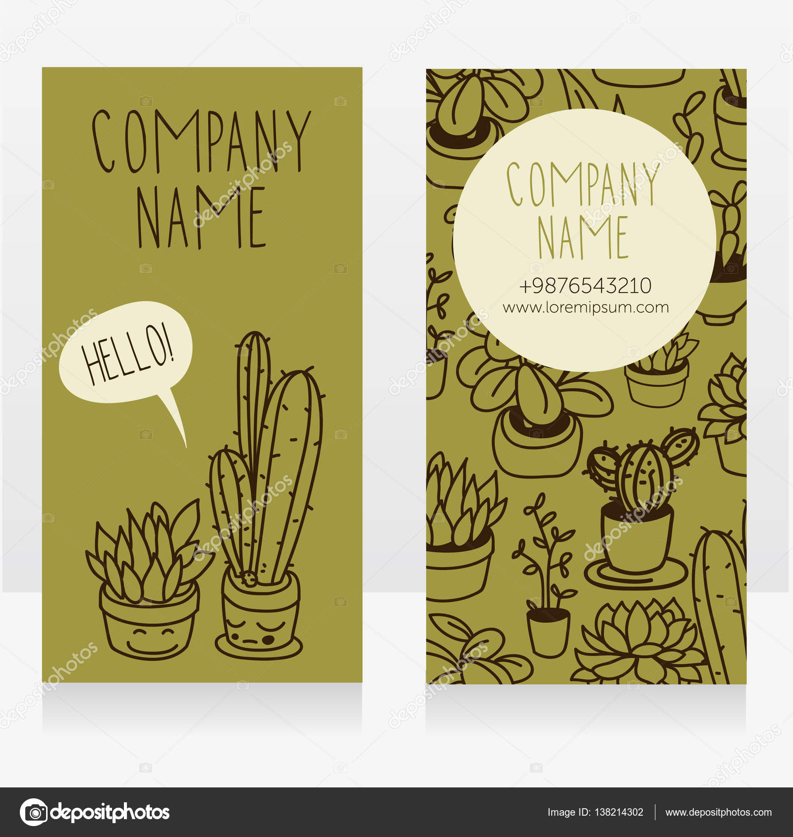 Template for business cards with cute potted plants with funny template for business cards with cute potted plants with funny cartoon faces and speech bubble reheart Images