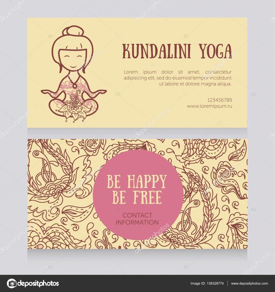 plantilla de tarjetas para el estudio de yoga — Vector de stock ...