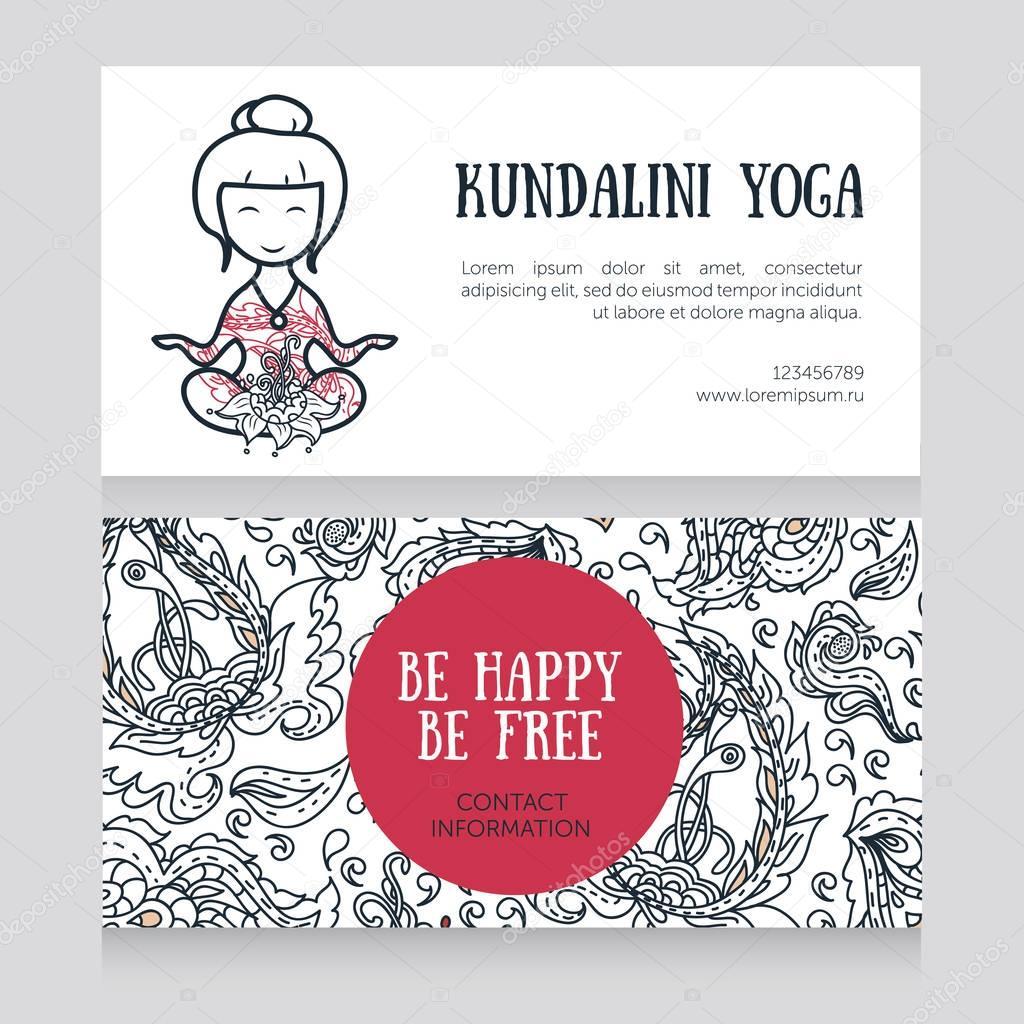 plantilla de tarjetas para el estudio de yoga — Archivo Imágenes ...