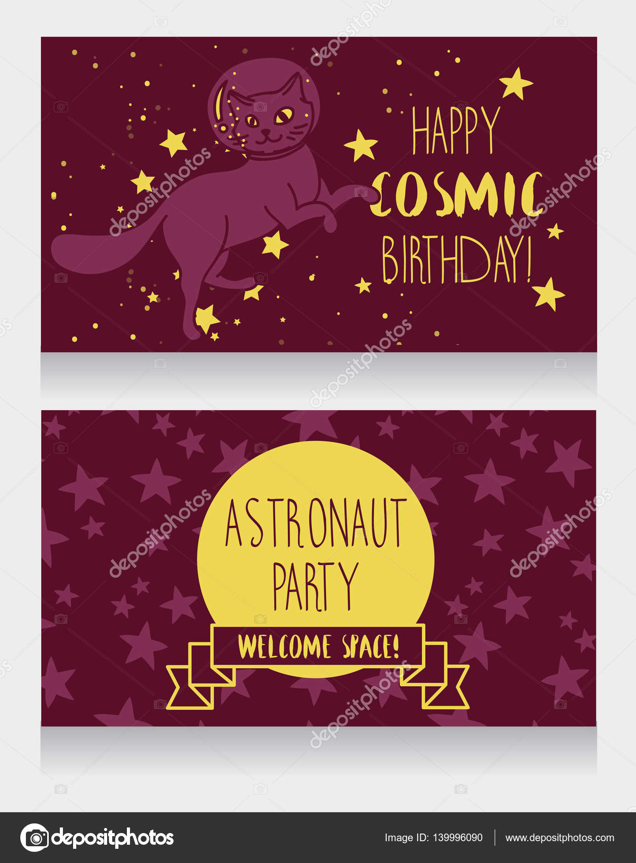 funny invitation cards for cosmic birthday party — Stock Vector ...