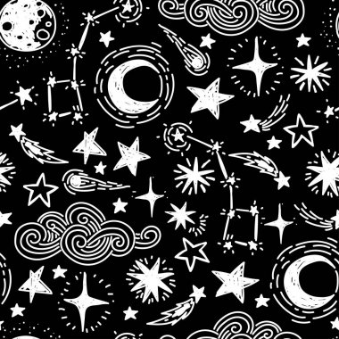 mystical starry seamless pattern
