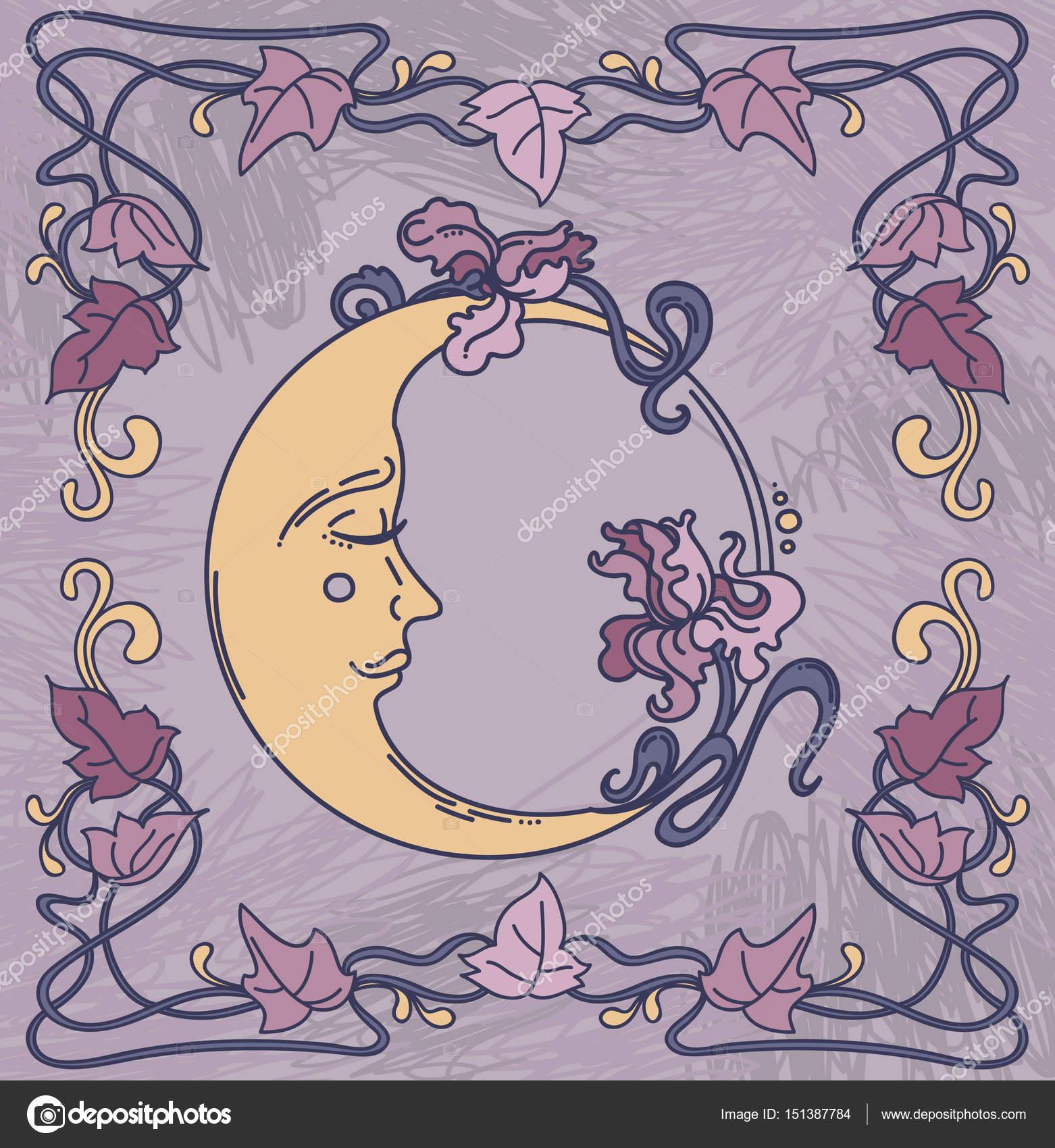 hermoso cartel en estilo art nouveau con luna, iris y marco flores ...