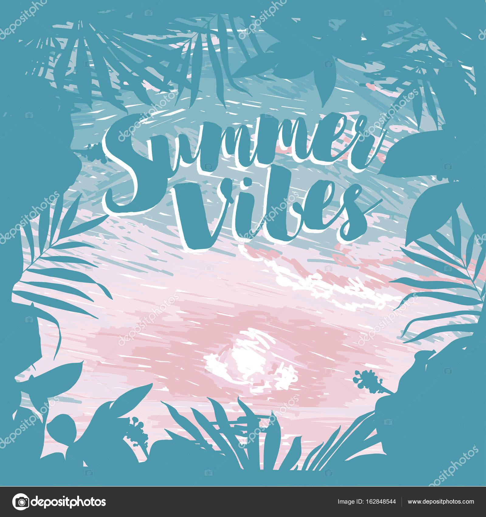Affiche Pour Les Vacances Du0027été Avec Cadre Tropical Et De La Place Pour Le  Texteu2013 Illustration De Stock