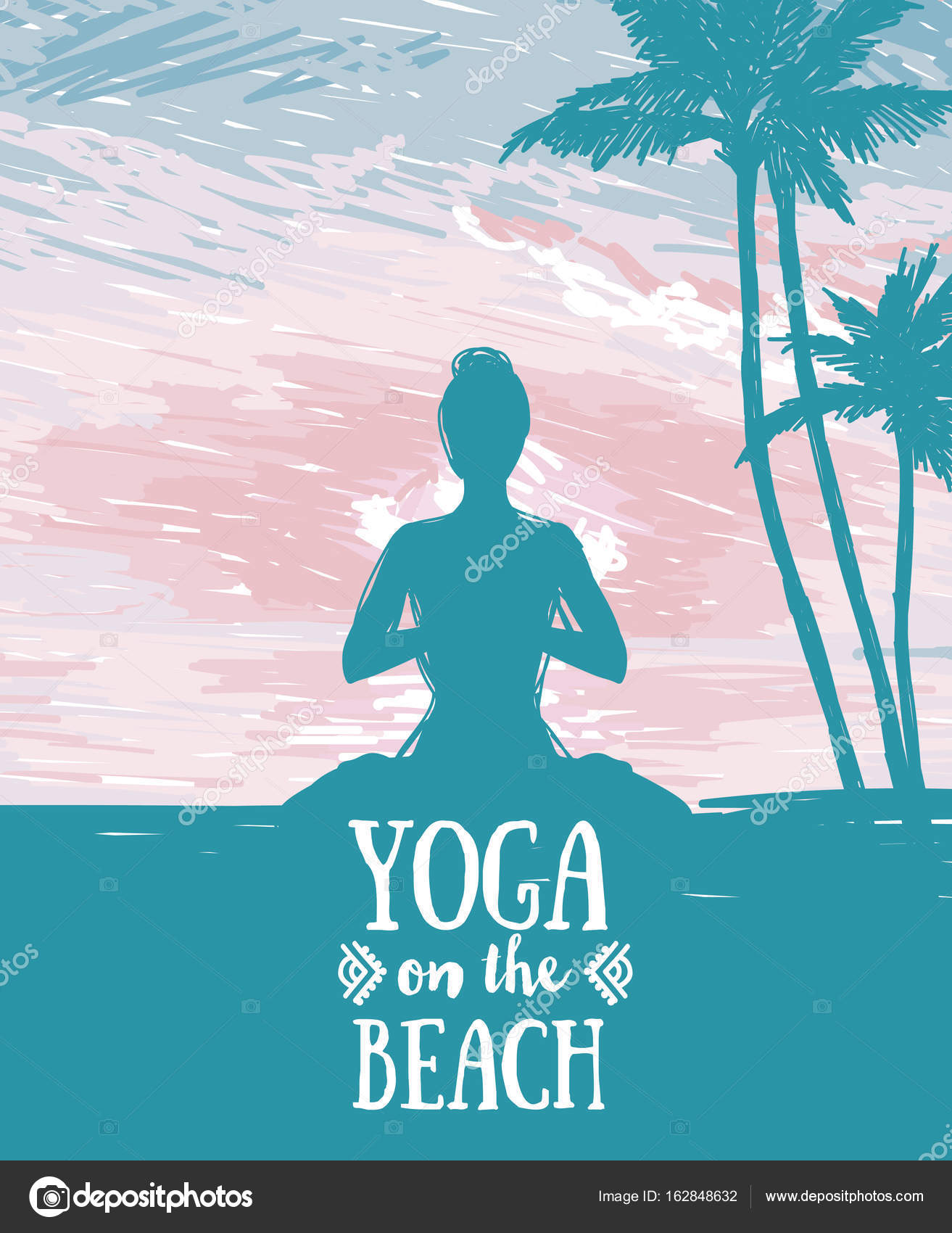 Banner For Yoga And Meditation Practice On The Beach Stock Vector