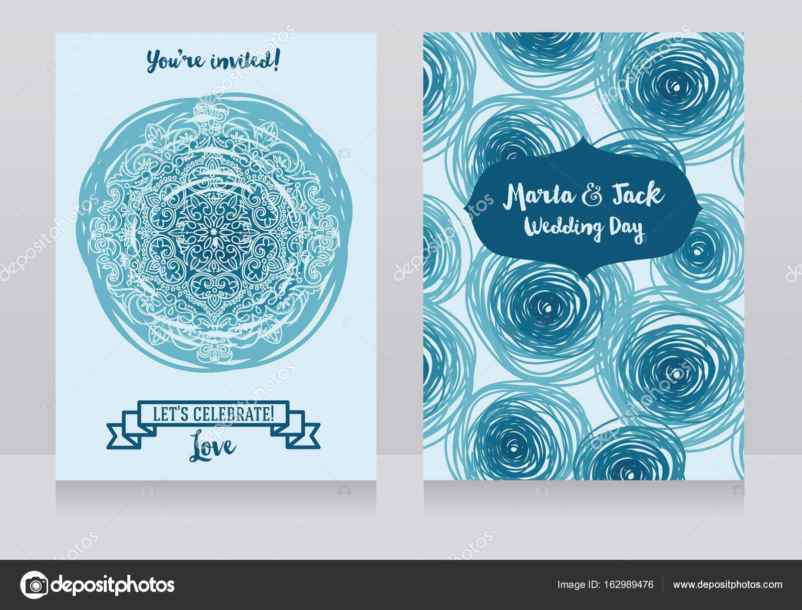 Zwei Hochzeitskarten Mit Schlage Und Spitze Ornament Stockvektor