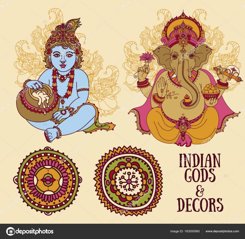 Para vacaciones India con Little Krishna y señor Ganesha y adornos ...
