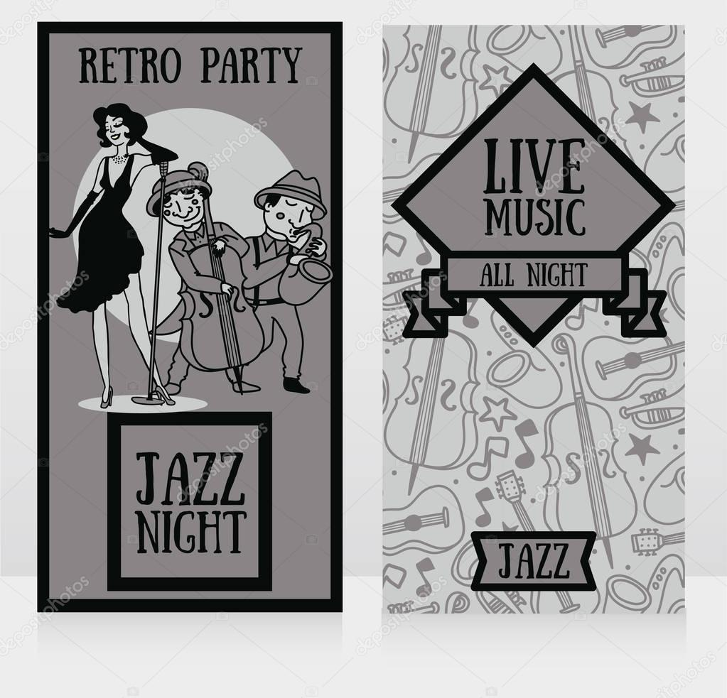jazz band on party posters