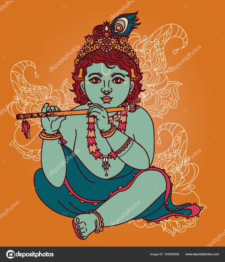 Kleine Krishna Mit Querflote Stockvektor C Ghouliirina 165565982