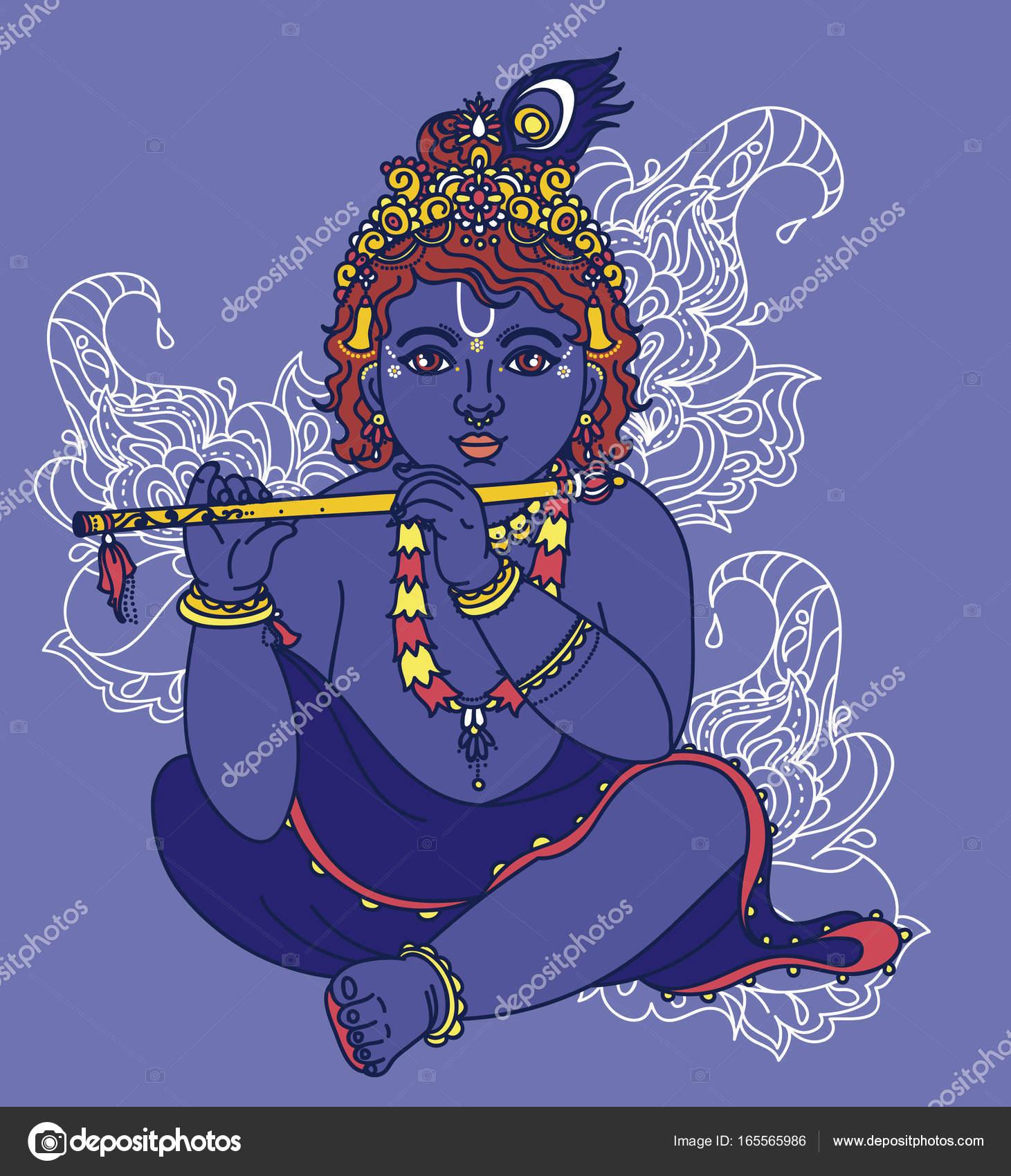 Kleine Krishna Mit Querflote Stockvektor C Ghouliirina 165565986