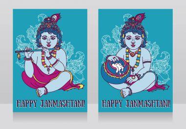 Greeting cards for happy janmashtami with baby Krishna