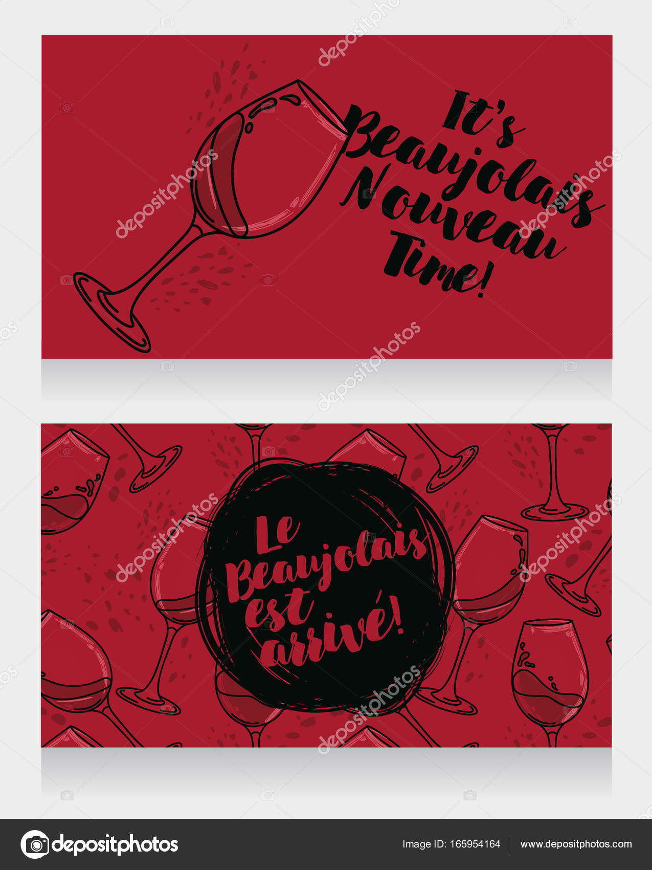 Two posters for Beaujolais Nouveau — Stock Vector © ghouliirina ...