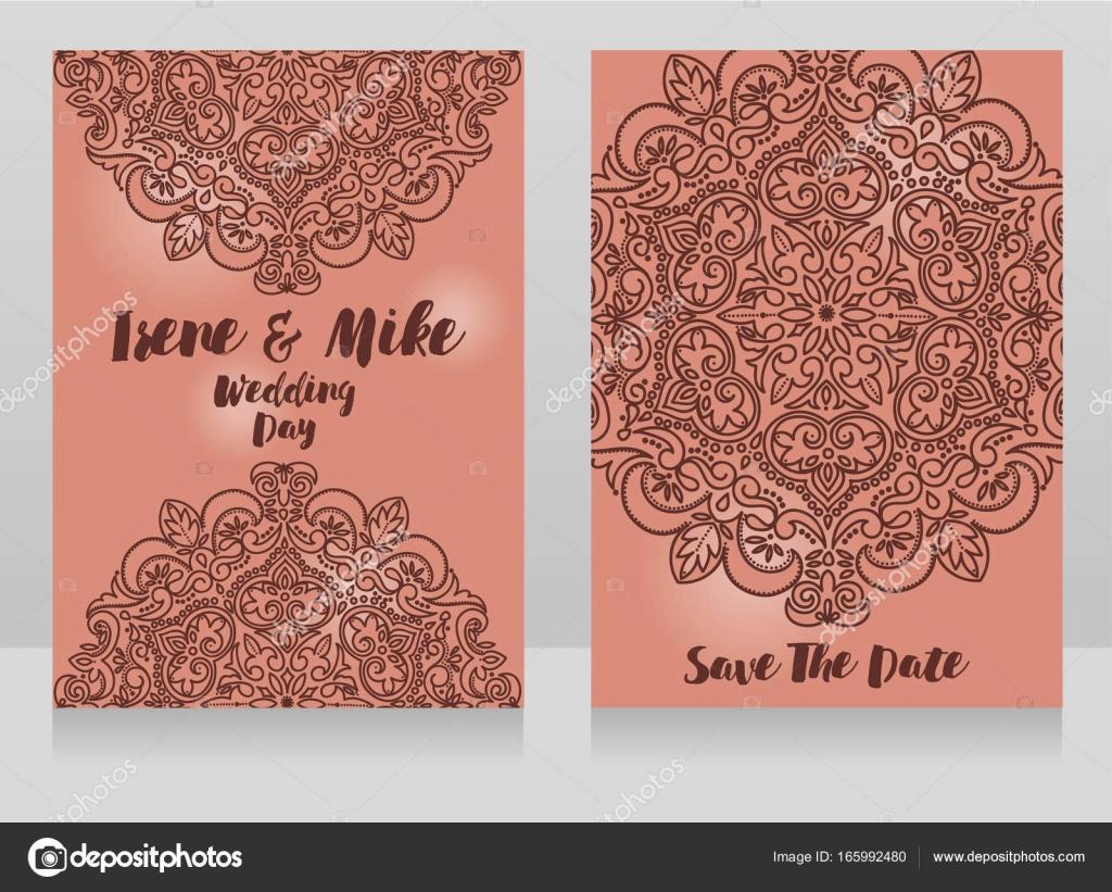 Schone Hochzeitskarten Mit Spitze Ornament Stockvektor