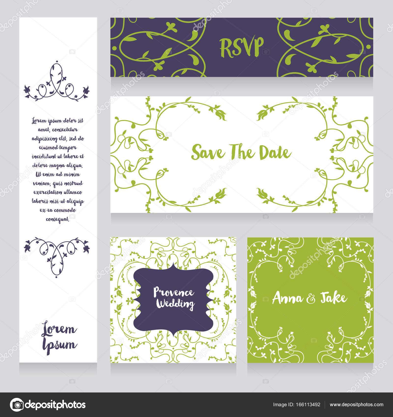 Set of wedding cards in provence style — Stock Vector