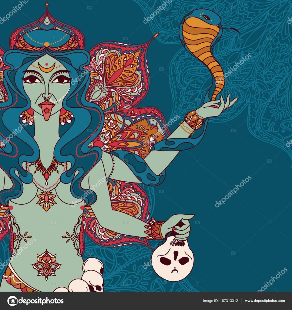 Indische Göttin Kali Mit Schlange Schädel Und Mandala Runde