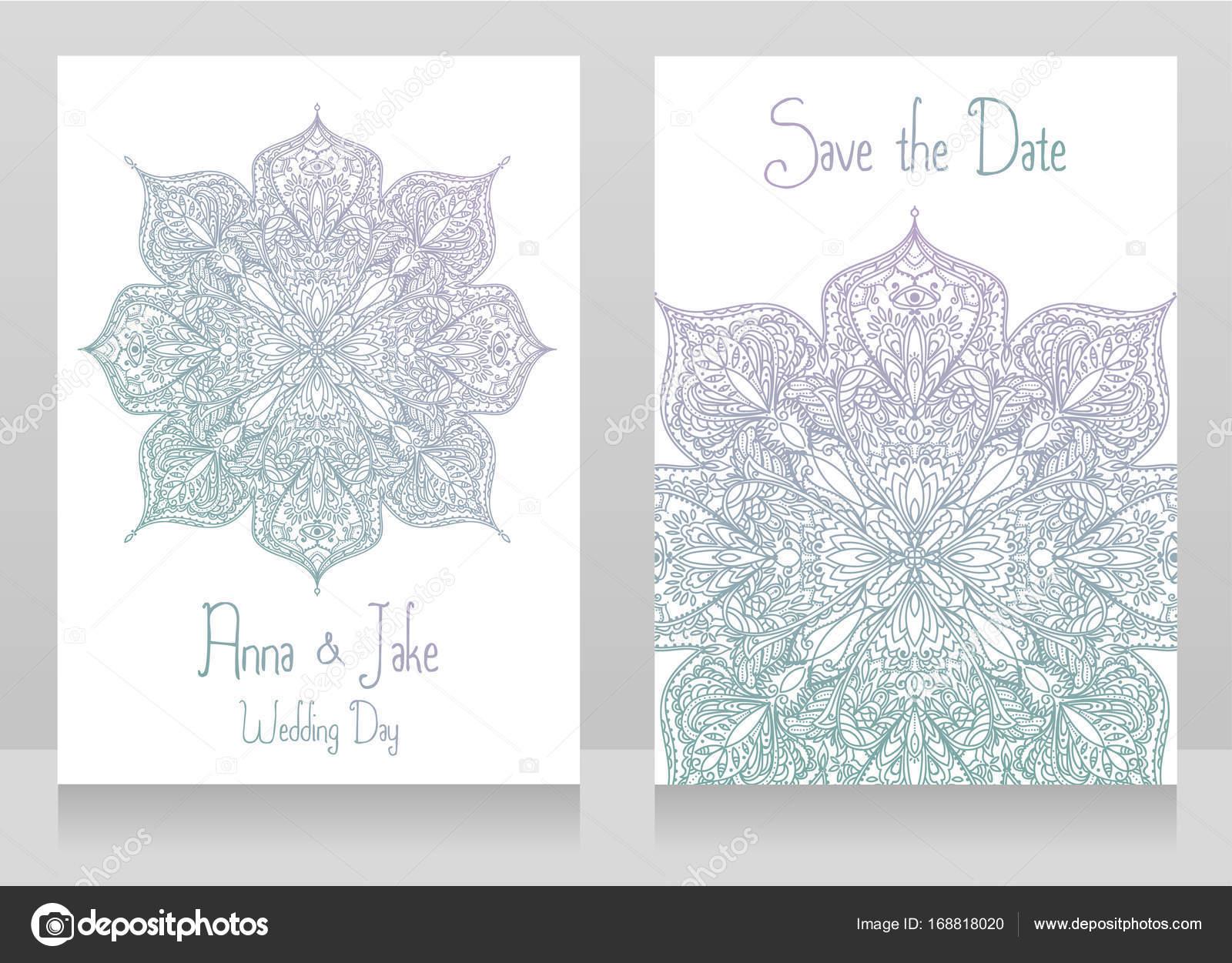 Zwei Hochzeitskarten Mit Spitze Ornament Stockvektor C Ghouliirina