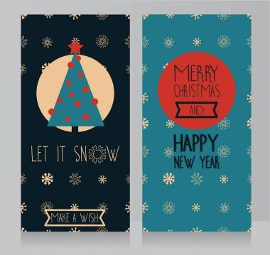 greeting cards for winter holidays with christmas tree and geometric snoflakes ornament