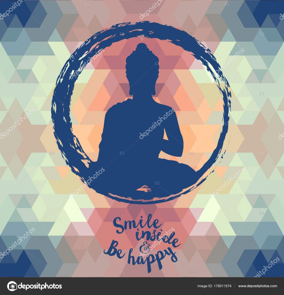 Poster Buddha Silhouette Geometric Background Can Used Yoga Studio Vector Stock