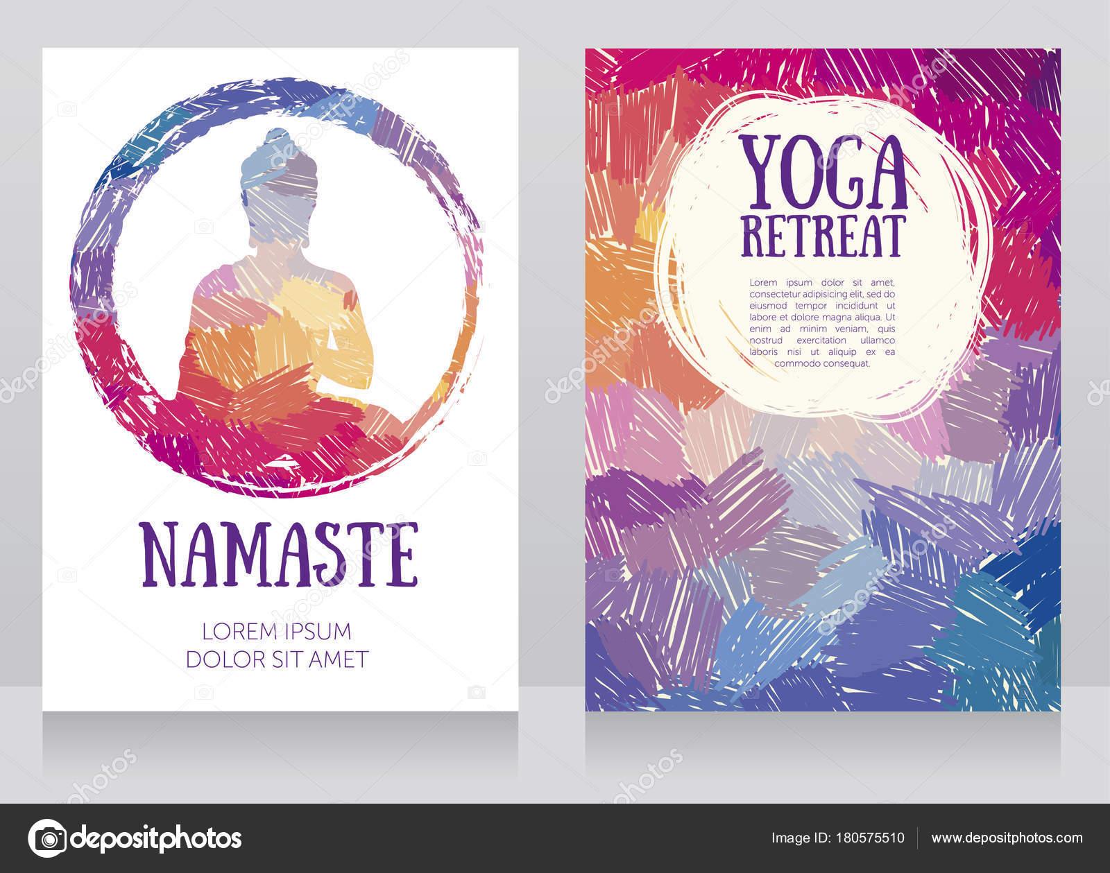 Fotos Fondos Para Yoga Dos Tarjetas Para Estudio Yoga Con Silueta