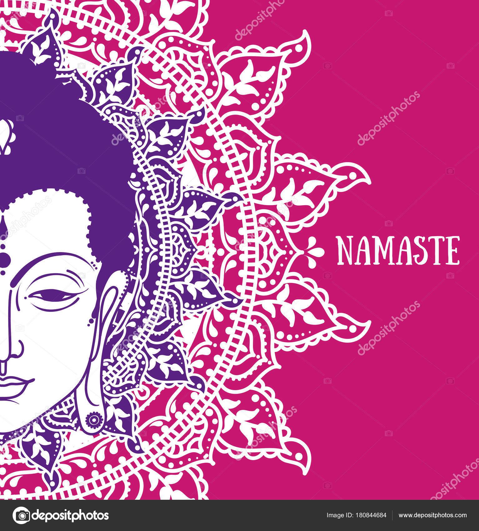 Poster Met Buddha Hoofd Mooie Mandala Kan Worden Gebruikt Als