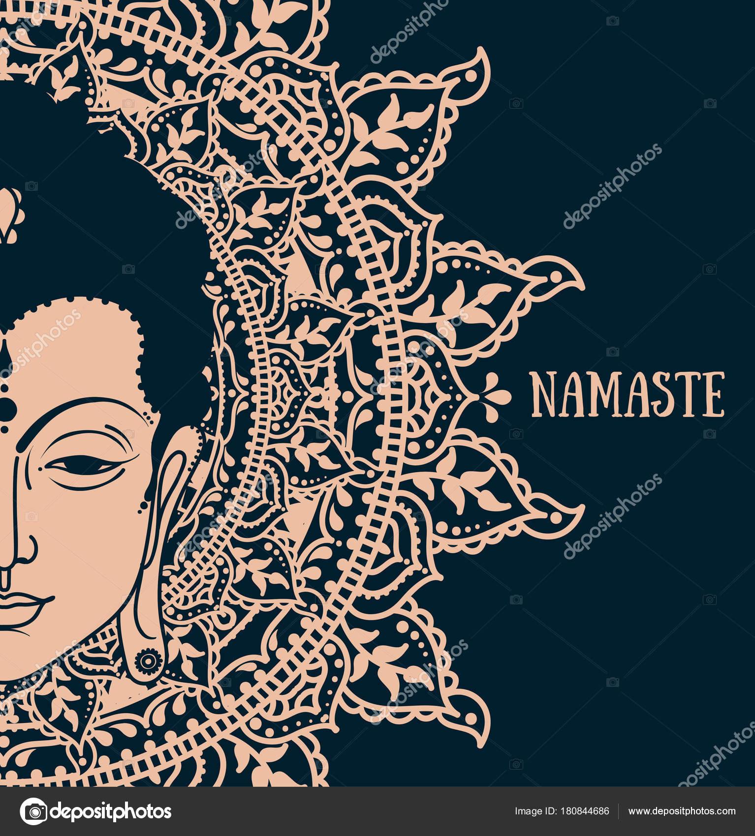 Poster Buddha Head Beautiful Mandala Can Used Greeting Card Buddha