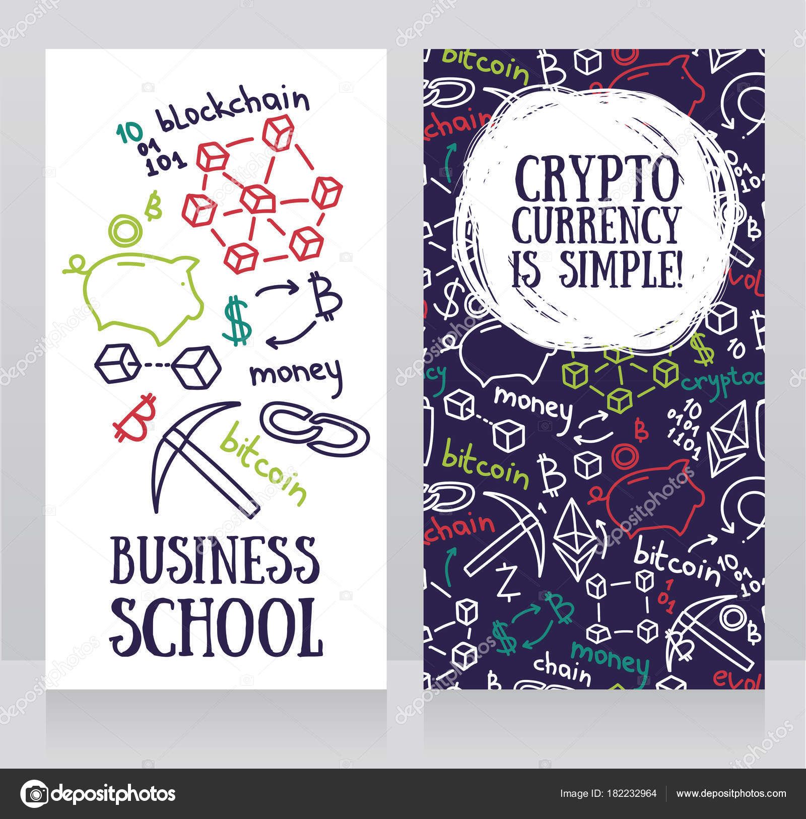 Banners Cryptocurrency Sketch Style Can Used Business Cards Finance ...