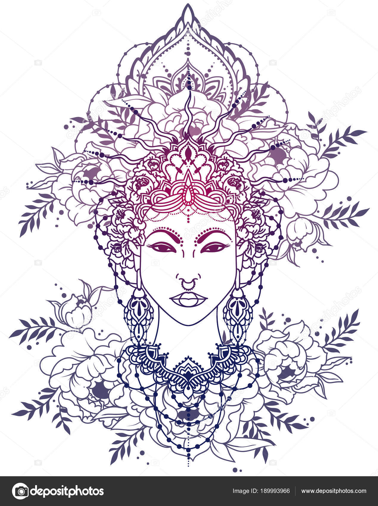 Mujer Asiática Real Bohemia Marco Corona Peonías Diosa Estilo ...