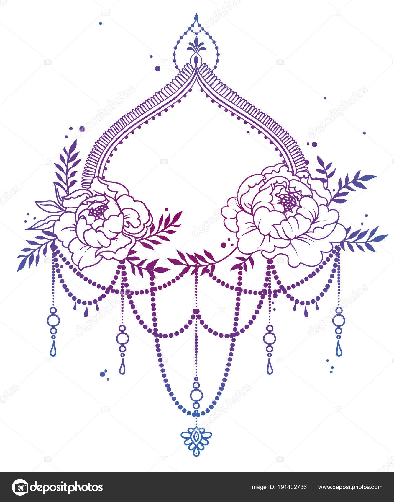 Beautiful frame peonies mehndi style decoration can used tattoo beautiful frame with peonies and mehndi style decoration can be used for tattoo or as wedding party invitation vector illustation vector by ghouliirina stopboris Images